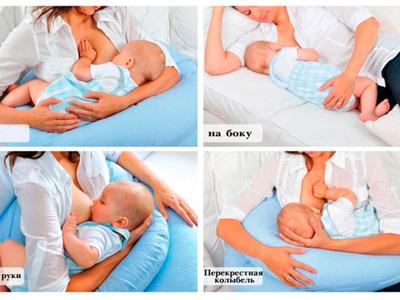 В какой позе кормить новорожденного ребенка грудью