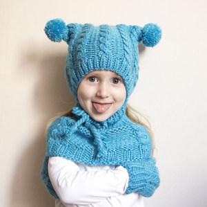 детская вязаная шапка и шарф способы связать спицами